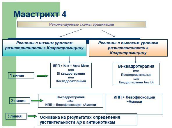 Рекомендуемые схемы эрадикации согласно Маастрихт 4