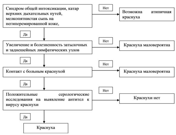 Диагностический алгоритм при краснухе