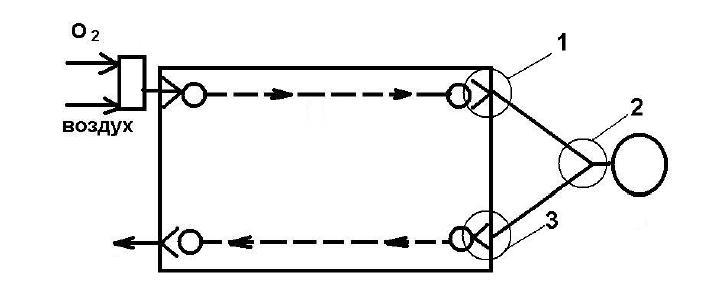 Схема расположения датчиков контроля в аппаратах ИВЛ